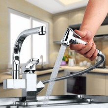 360 градусов Поворотный два носики Кухня кран вытащить на бортике полированная Латунь Chrome бассейна горячая холодная вода смесителя