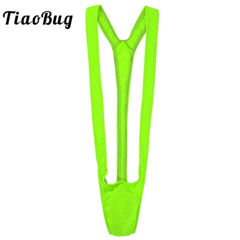 Tiaobug Borat Swimsuit Thong Mankini Bright-Fluorescence Sexy Stretchy Beach Male Hot