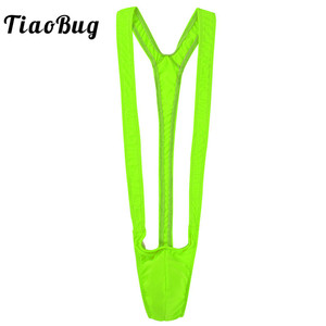 TiaoBug Men Bright Fluorescence Stretchy Novelty Mankini Thong Borat Swimsuit Male Swimming Beach Hot Sexy Swimwear Bathing Suit(China)