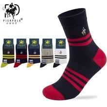 4242e7bdf4c72 Высокое Качество Модные полосатые 5 пар Марка Pier Polo Повседневное  хлопковые носки Бизнес вышивка Для мужчин носки производите.