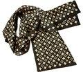 Fashion Double Layer Print Pure Silk Scarf Men Trendsetter Style Long Multicolor True Silk Crepe Satin Neckerchief