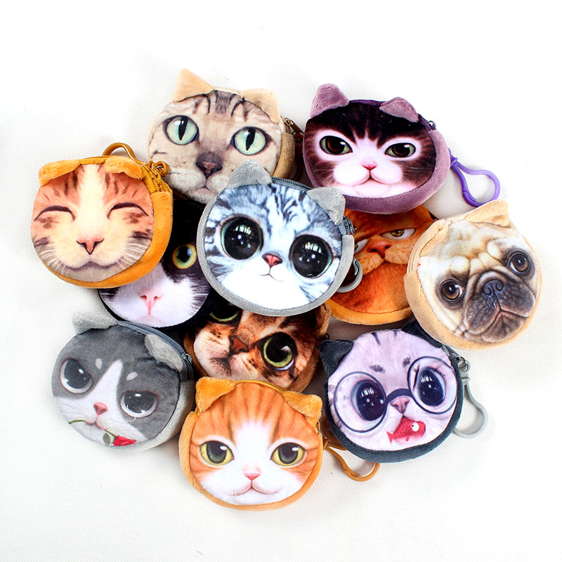 17 Colors New bag  coin purse wallet ladies 3D printing cats dogs animal big face change fashion cute small zipper for gift