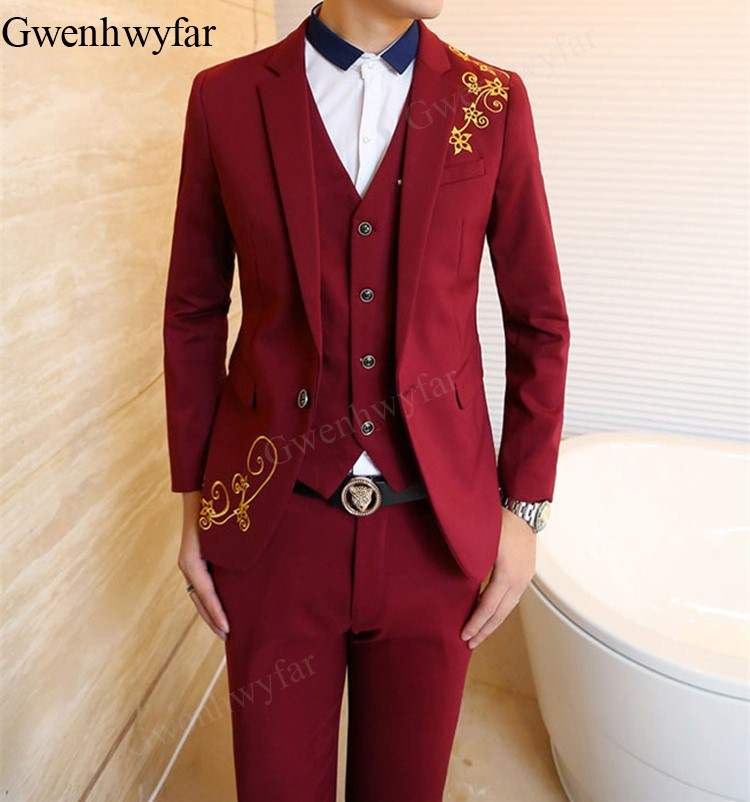 Gwenhwyfar New Style Red Blue Black Gold Embroidery Groom Tuxedos Groomsmen Men S Wedding Suits Bridegroom Jacket Pants Vest Suits Aliexpress