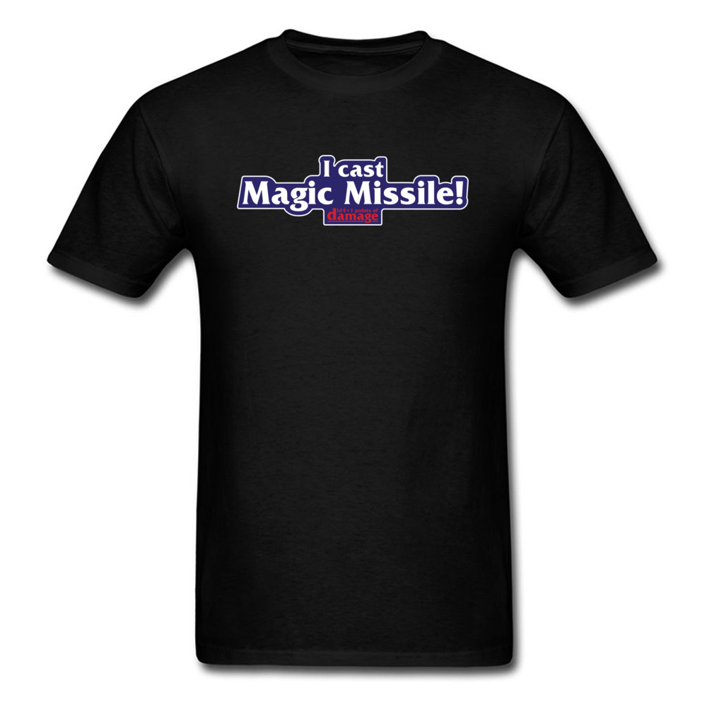 I Cast Magic Missile T-shirt Men Game T Shirt Online Gamer Clothing Classic Quote Tshirt Summer Black Tops Tees Fitness