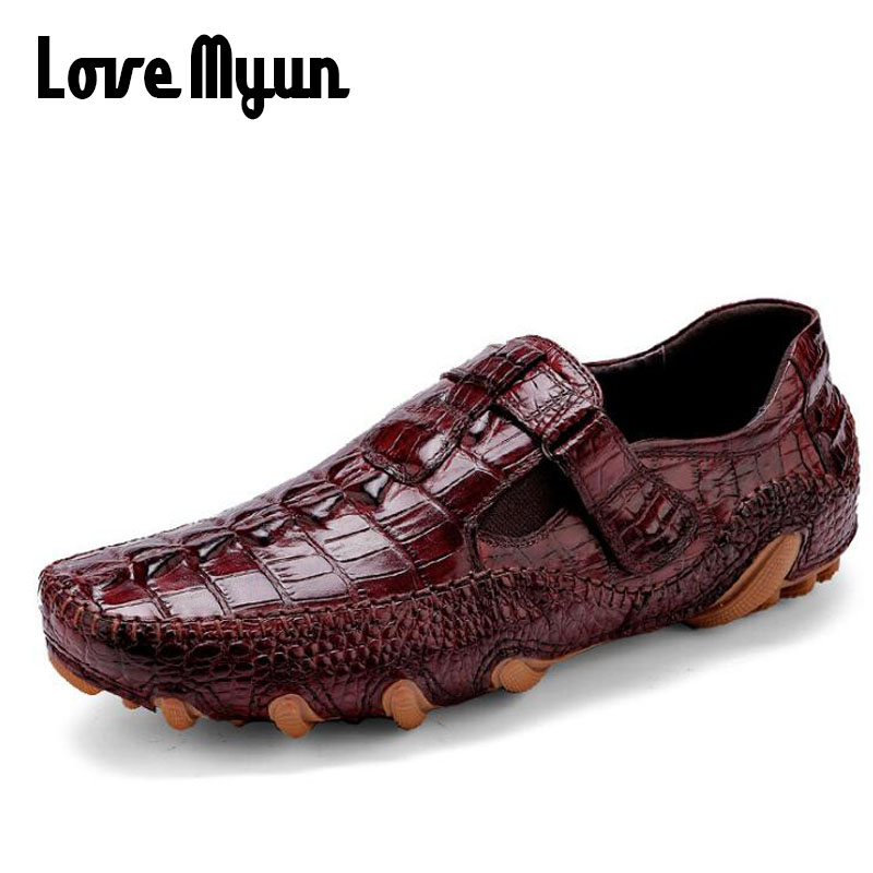 High Quality Brand Luxury Designer Men Business Boat Flats Casual Shoes crocodile Genuine Leather Loafers Driving Shoes KK-38 grimentin fashion 2016 high top braid men casual shoes genuine leather designer luxury brand men shoe flats for leisure business