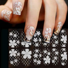 DIY Designer Water Transfer Nails Art Nail White Lace With Diamond Sticker Fantacy Flowers Nail Stickers Wraps Sticker Manicure