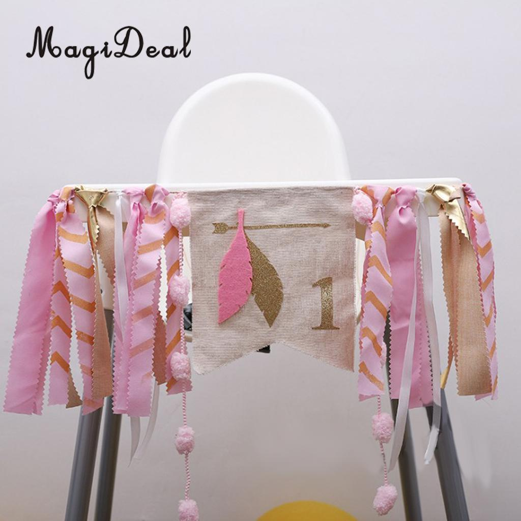 MagiDeal Shabby Chic Baby Kids 1st Birthday Highchair Banner Rag Tied Toddle Room Cake Smash Wall Decorations Photo Prop