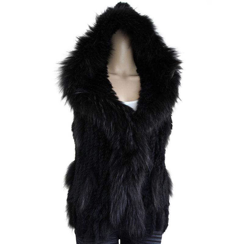 Mode hiver femmes court à capuche réel Gilets de fourrure tricoté Gilets de fourrure de lapin avec des glands solide capuche fourrure de raton laveur col gilet
