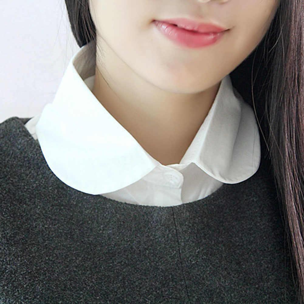 Съемная женская рубашка с искусственным воротником, хлопковая однотонная блузка с лацканами, топ, свитер, галстук, женская одежда, аксессуары, KNG88
