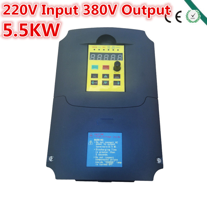 Inverter,5500 watt (5.5KW) , input 220V output 380V Variable Frequency Drive for <font><b>2KW</b></font> <font><b>Motor</b></font> Speed Control, Drive Capacity: 10KVA image