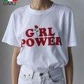 Girl power rosa camiseta grl pwr meninas podem fazer qualquer coisa mulheres 2017 Novas Camisas De Algodão Mulher Camiseta Carta de Impressão Moda Casual topos
