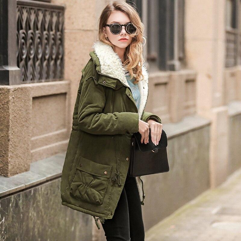 Fashion Winter Thick Women Faux Fur Coat Oversized Warm   Parka   Girl 3XL Long Cotton Green Overcoat Solid Streetwear Female Hot