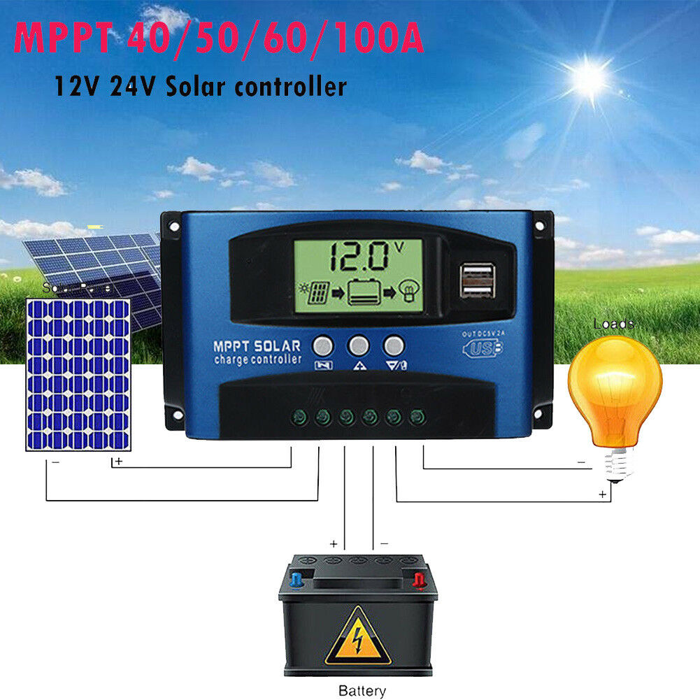 40-100A MPPT Solar Panel Regulator Charge Controller 12V/24V Auto Focus Tracking Regulator Controller