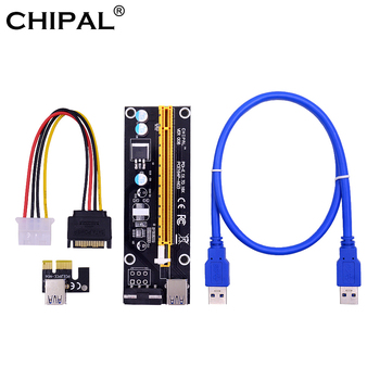 CHIPAL VER006 PCI-E Riser Card PCIE 1X 16X Extension Adapter 60CM USB 3.0 Cable SATA 4Pin Molex Power for Bitcoin Miner Mining