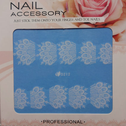 28 Styles White Lace Nail Art Water Transfer Decals Full Cover Nail Stickers New 2013  Free Shipping