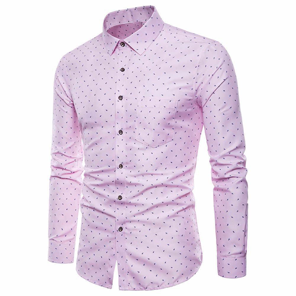 男性ファッションカジュアル長袖プリント高品質シャツ通気性カミーサ Masculina スリムフィット男性社会ビジネスドレスシャツ