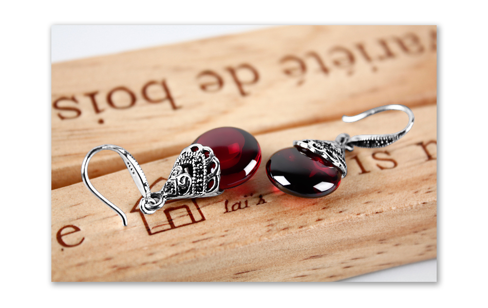 HTB1dUdioTvI8KJjSspjq6AgjXXaT - JIASHUNTAI Retro 100% 925 Sterling Silver Round Garnet Drop Earrings For Women Natural Red Gemstone Ruby Fine Jewelry Best Gifts