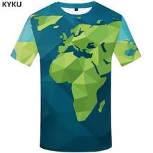 KYKU World Map T Shirt Men Cartoon Green Geometric 3d T-shirt Punk Rock Clothes Anime Printed Tshirt Gothic Mens Clothing