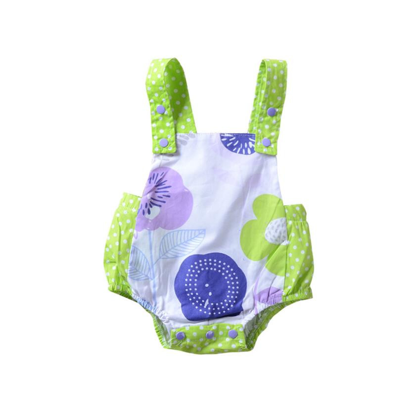 MUQGEW Summer childrens clothing Toddler Baby Girls Romper Floral Dot Print Sleeveless Strap Jumpsuit Outfits Kids clothes