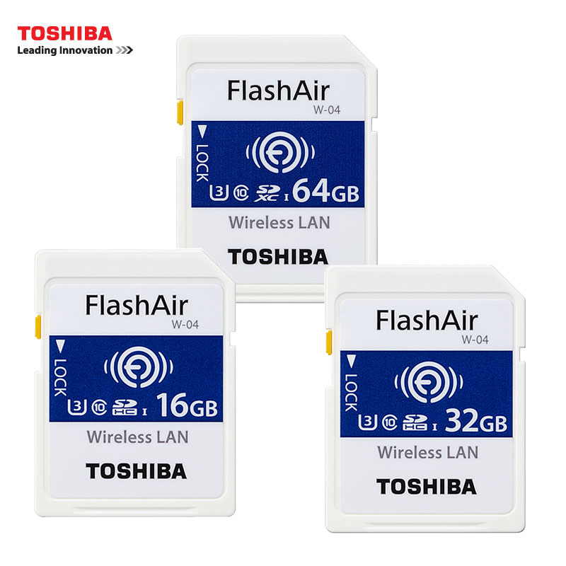 TOSHIBA WiFi SD Card 16GB 32GB SDHC 64GB SDXC Class 10 U3 FlashAir W-04 Memory Card Flash Card For Digital Camera