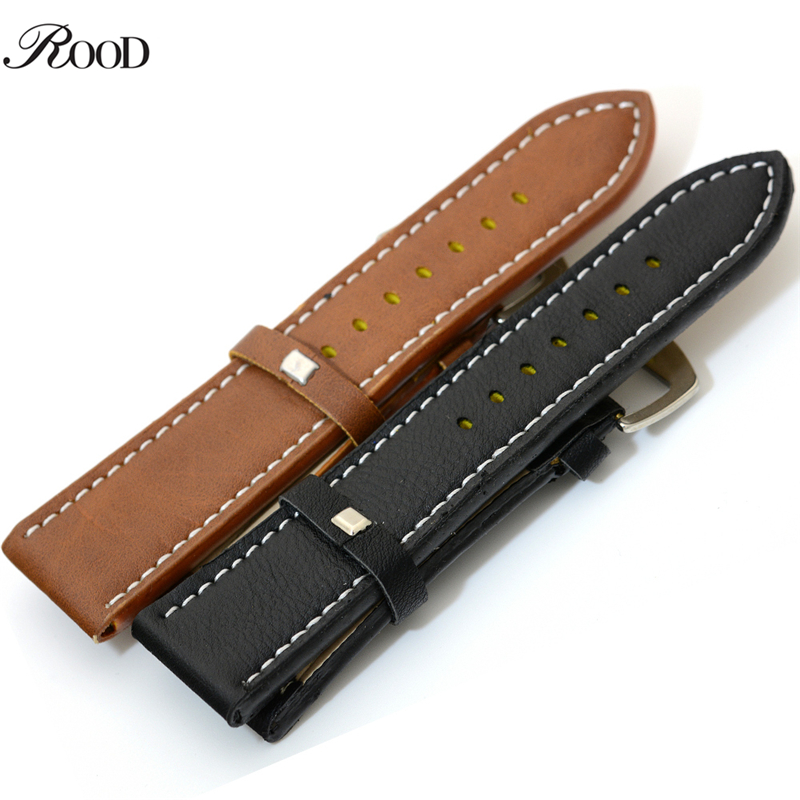 Leather Watch Strap 24mm Men Outside Sport Wristwatches Band High Quality Black And Brown PU Leather Timepiece Belt 2016 high quality genuine leather watchband 22mm brown black wrist watch band strap wristwatches stitched belt folding clasp men