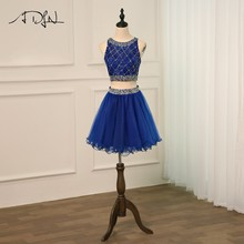 ADLN Cocktail Dresses Royal Blue Tulle Luxury Beading Short Dresses Elegant A Line 2018 Special Occasion Party Dresses(China)