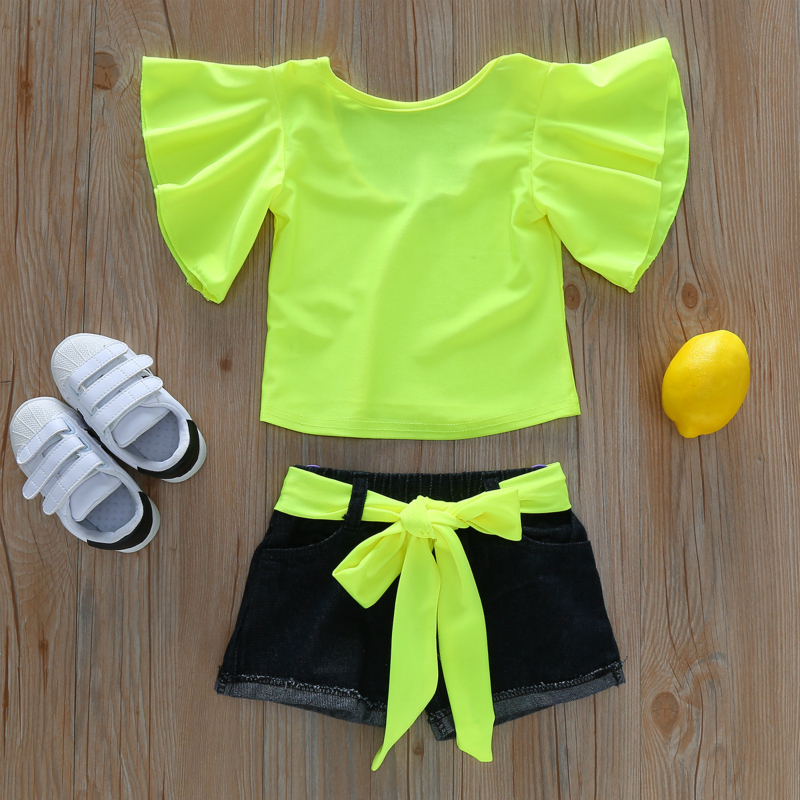 2019 Summer Girls Clothing Sets Fluorescent Color Short Sleeve Tops+Denim Shorts Baby Girl Clothes