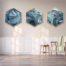 Modern abstract decorative painting Bedroom sofa background wall Golden cloud hexagon framed Triptych Office