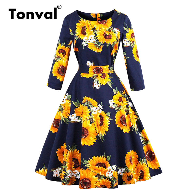 Tonval <font><b>Yellow</b></font> <font><b>Sunflower</b></font> A Line Vintage Cotton <font><b>Dress</b></font> Spring Autumn 3/4 Length Sleeve Women Elegant 1950s Floral <font><b>Dresses</b></font> image