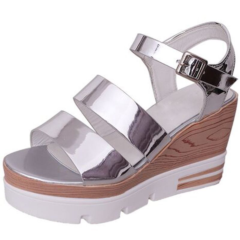 metal silver women summer sandals high heels platform wedges ankle strap sandalias ladies casual daily footwear shoes phyanic 2017 gladiator sandals gold silver shoes woman summer platform wedges glitters creepers casual women shoes phy3323