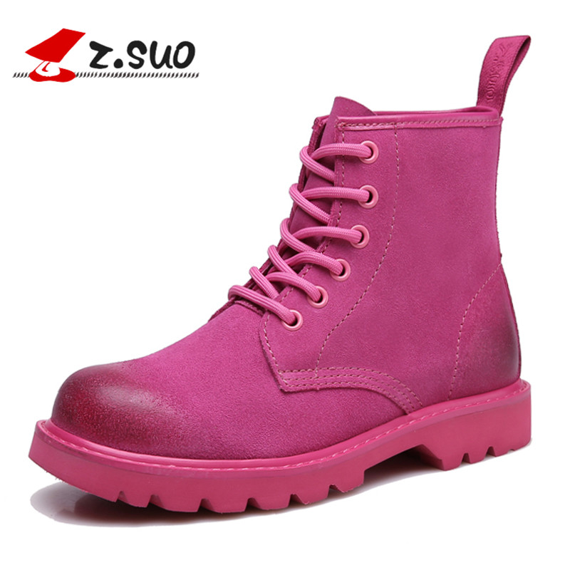 Z.Suo Women's Winter Boots Fashion Cow Suede Ankle Boots Shoes Lace-up Comfortable Female Motorcycle Boots Botas Mujer ZS18526N