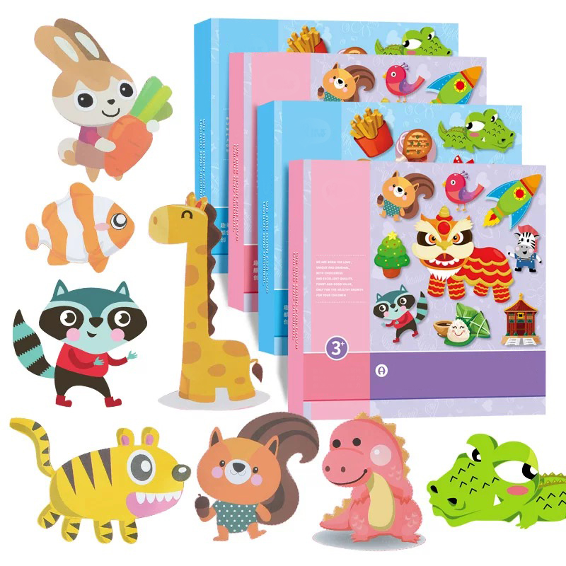 100pcs Kids Cartoon Color Paper Folding And Cutting Toys/child Art Craft Toys DIY Children Educational Toys Diy  Free Shipping