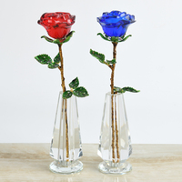 Crystal Red Rose Flower with Green Leaves Crystal Vase Stand Romantic Christmas Valentines Day Birthday Gift Home Decor