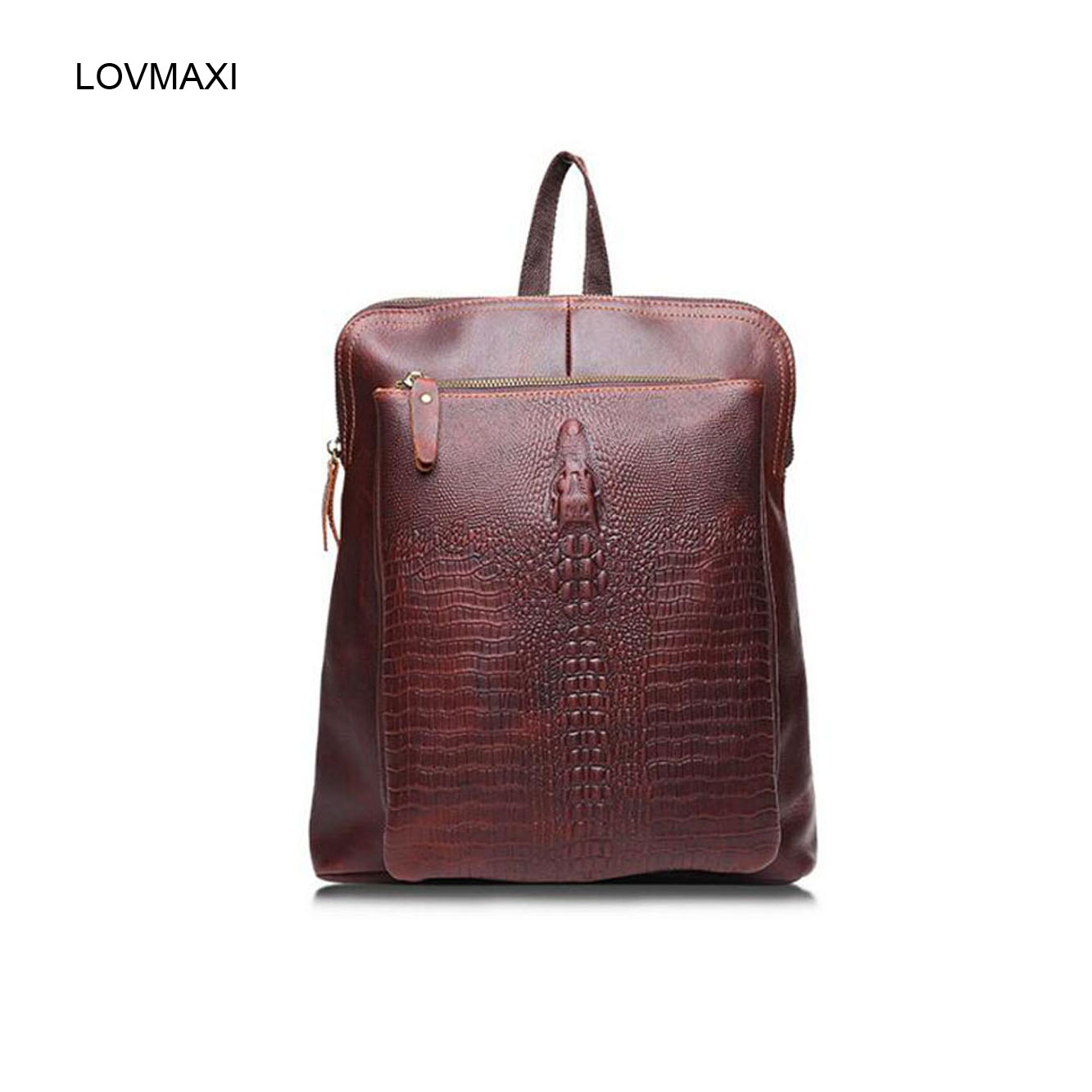 ФОТО 2017 hot Lady leather backpacks Vintage crocodile head embossed first layer of genuine leather shoulder bag fashion causal bags