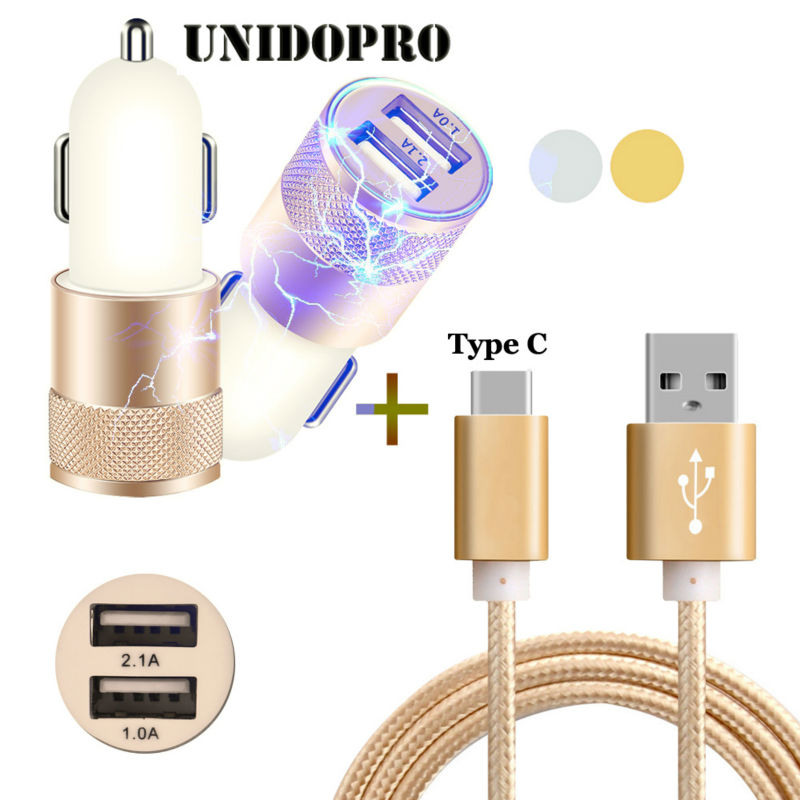 Type C USB 3 1 Charging Data Cable Dual USB Car Charger Power Adapter for Xiaomi