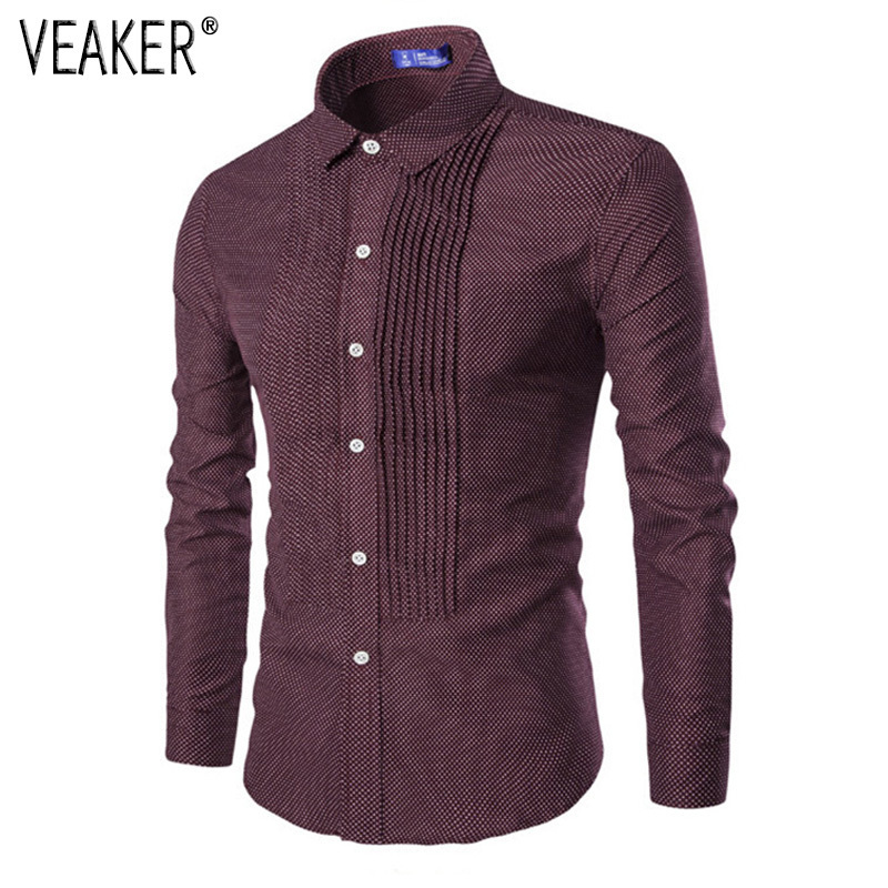2018 Autumn New <font><b>Men's</b></font> Pleated <font><b>polka</b></font> <font><b>dot</b></font> <font><b>Shirts</b></font> Long Sleeve Slim Fit Male Business Party <font><b>Shirts</b></font> <font><b>Men</b></font> <font><b>Dot</b></font> Print <font><b>Shirt</b></font> M-2XL image