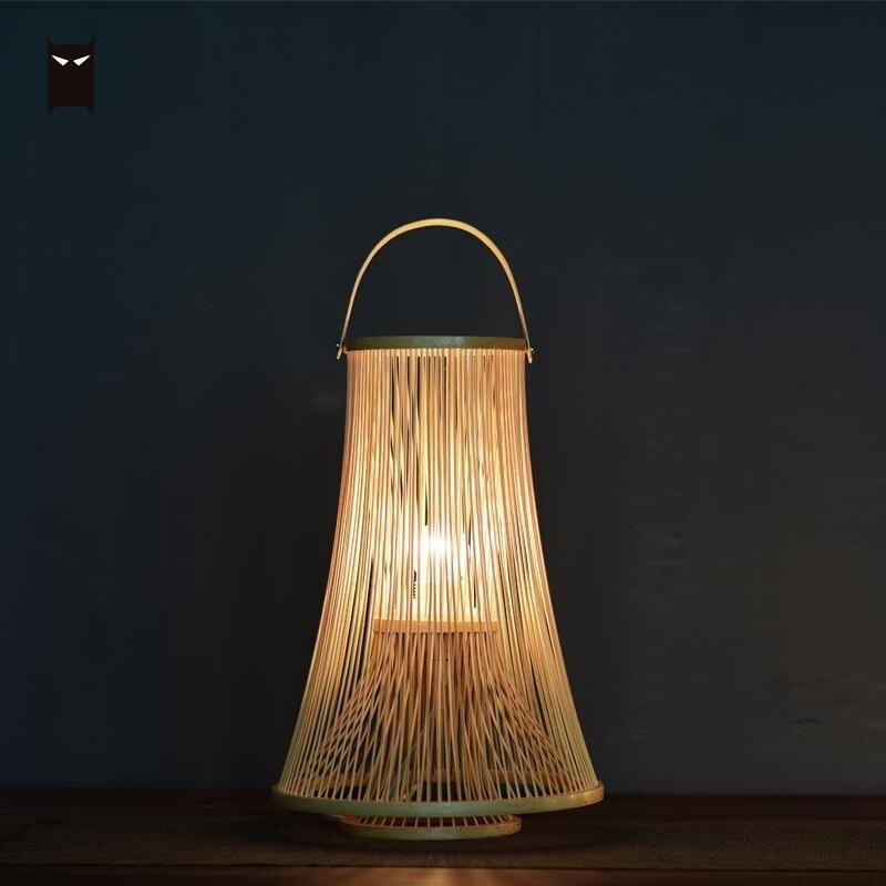 Bamboo Wicker Rattan Lantern Shade Table Light Fixture