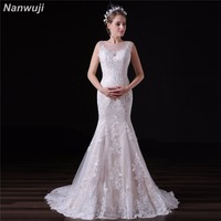 Sexy Mermaid Wedding Dress O Neck Open Back Fashion Lace White Ivory Bridal Gowns Sweep Train