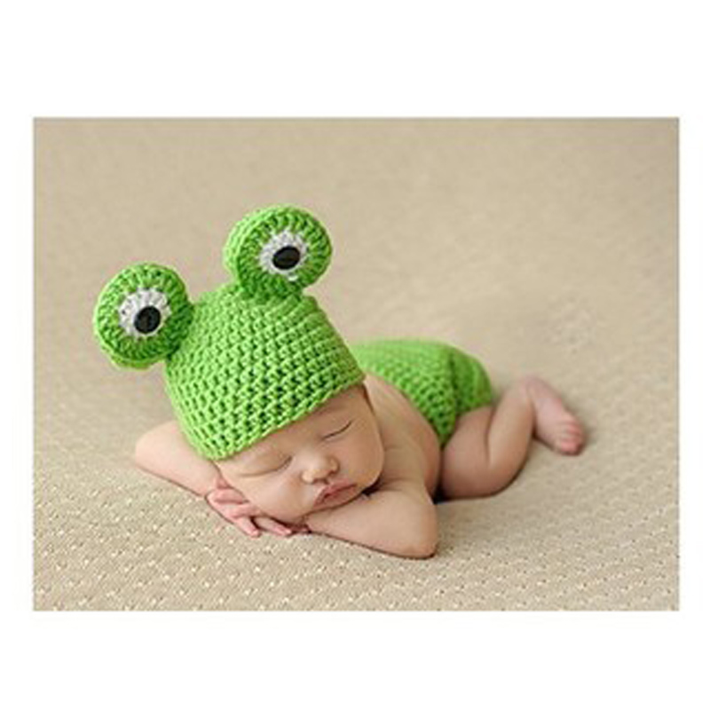 Hand-knit newborn 0-3 months Infant Animal Crochet Baby Frog Photography Props Wool Baby Clothes One Hundred Days