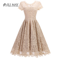 JLI MAY Elegant Women Dress Slim Sexy Formal Party Evening Lace Short Sleeve Midi A Line