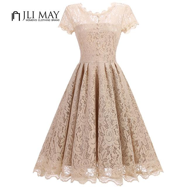 JLI MAY Elegant women Dress slim sexy formal party evening lace short sleeve midi A-Line womens clothing Black ladies dresses