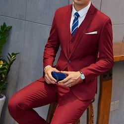 875666d63380 OSCN7 2019 New Plain Tailor Made Suits Men 3 Piece Gentleman Business  Wedding Custom Made Mens
