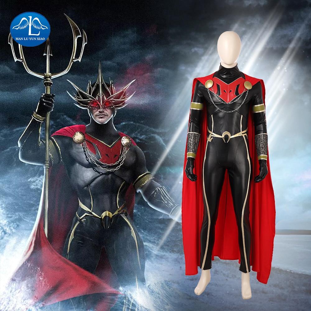 MANLUYUNXIAO New 2018 Movie Aquaman Cosplay Costume Men Orm Costume Halloween Ocean Master Cosplay Costume For Men Customize