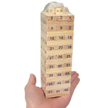 Mini Wooden Tower Wood Building Blocks Toy Domino 54pcs Stacker Extract Building Educational Jenga Game Gift 4pcs Dice(China)