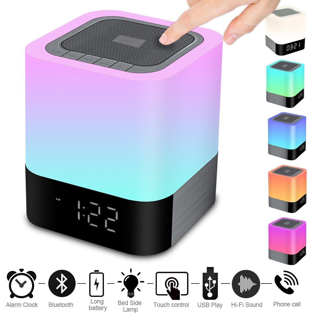 Portable Wireless Bluetooth4.0 Speaker 5w Big Sound Heavy Base RBG Warm Light Lamp Alarm Clock-Hand Free-48Led Light Cycle-MP3