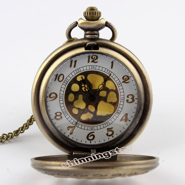 Bronze Rose Exquisite Antique Quartz Pocket Watch Trendy Design Hollow Pocket Watch With Long Chain Necklace Pendant Unisex P243