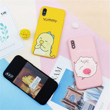 Cute Pink Phone Case For iPhone X XS Max XR Cases Yellow Cover Funny Expression Coque For iPhone 7 8 6 6S Plus 5 S SE Black Case(China)