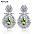 NEWSKY 2016 round water drop female gold / silver plated color droplets zircons red / green crystal  earrings jewelry