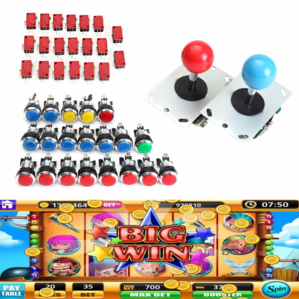 Mayitr LED Iluminado Arcade Mame USB Kit DIY Piezas 20 Botones + 2 Joysticks
