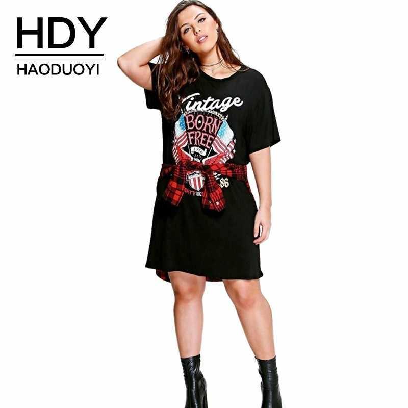 HDY HAaoduoyi 2019 женская одежда большого размера базовое летнее платье с принтом Повседневное платье с круглым вырезом и коротким рукавом плюс размер 4XL 5XL 6XL